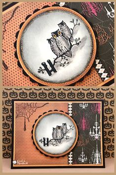 Carte avec hiboux pour halloween. Halloween card DIY with owls.  #halloween, #hibou, #owl, #cardmaking,