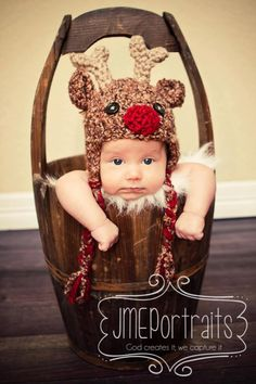 Baby Reindeer Hat with Ear Flaps--Crocheted Rudolf--Perfect Newborn Photo Prop. $36.00, via etsy.   I can't crochet and I can't pay that much for a hat, but how cute would that be for Christmas pictures!