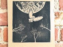 Bild Linolschnitt Eule in Mond Nacht Druck