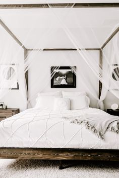 Build a Restoration Hardware style canopy bed on a budget with these easy DIY canopy bed plans. Cal King, King, and Queen dimensions are provided. Modern Canopy Bed, Wood Canopy Bed, Canopy Bedroom, Diy Canopy, Room Ideas Bedroom, Home Decor Bedroom, Bed With Canopy, Canopy Beds, King Bedroom