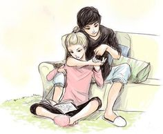 Cute anime couple. Hey it's percy and annabeth me And My love