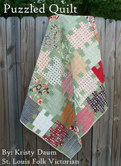 Puzzled Quilt tutorial by St. Louis Folk Victorian for Moda Bakeshop! ~ This is a simple jelly roll quilt that is so simple but looks more complex than it really is! What a great way to showcase your favorite fabric collection! The Fabric Shack has a large selection of jelly rolls and other pre-cuts at http://www.fabricshack.com/cgi-bin/Store/store.cgi