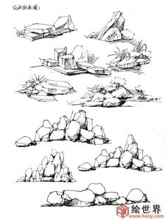 Drawings Makale Stones 3 Making Short Work of Slugs and Snails Slugs and snails are the bane Tree Sketches, Drawing Sketches, Pencil Drawings, Art Drawings, Pencil Art, Landscape Architecture Drawing, Landscape Sketch, Landscape Drawings, Drawing Rocks