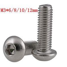 8.19$  Buy now - http://alixms.shopchina.info/go.php?t=32778299329 - 50pcs M3 304 stainless steel M3x6/8/10/12mm Titanium Button Head Hex Socket Screw  #buyonline