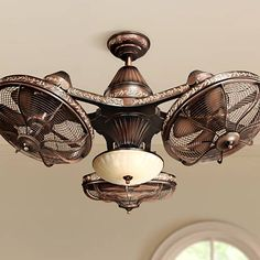 Three individually adjustable fan heads unite to form a stunning ceiling fan fixture. Three individually adjustable fan heads unite to form a stunning ceiling fan fixture. Fan Light Fixtures, Kitchen Lighting Fixtures, Ceiling Fan Chandelier, Chandeliers, Ceiling Fan Makeover, Shabby Chic Interiors, Room Lamp, Messing, Tiny Houses