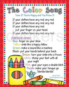 Kindergarten Songs, Preschool Songs, Preschool Lessons, Kids Songs, Circle Time Ideas For Preschool, Preschool Good Morning Songs, Color Songs For Toddlers, Transition Songs For Preschool, Preschool Classroom Themes