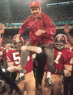1972 After winning the 1972 NFC Championship and earning the Redskins their first Super Bowl birth, Coach George Allen gets carried off the field. The `Skins took down NFC rival Dallas Cowboys in a blowout 26-3 win.