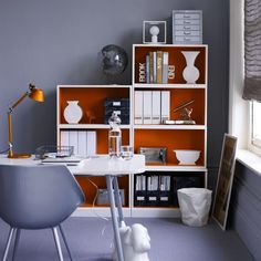 Bookshelves with coral accents