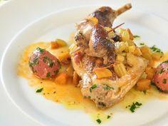 Králík pečený v kořenové zelenině Korn, Thai Red Curry, Food And Drink, Cooking Recipes, Meat, Chicken, Ethnic Recipes, Chef Recipes