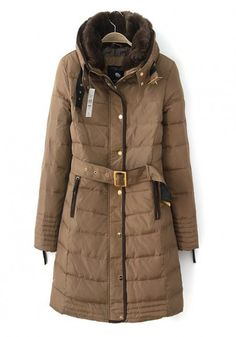 Camel Plain Belt Band Collar Down Down Coat. In the northeast sometimes you  just need to stay warm. 9d8707077535