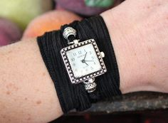 Silk Ribbon Wrap Watch - Square - 15 Ribbon Colors to Choose From - Hypoallergenic READY TO SHIP