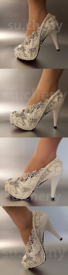Wedding Shoes And Bridal Shoes: 3 / 4 Heel White Ivory Lace Crystal Pearls Wedding Shoes Pumps Bride Size 5-11 BUY IT NOW ONLY: $39.99