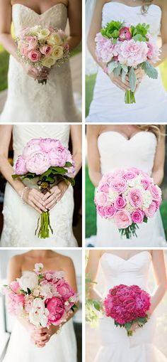 Pink Flowers Pink Wedding Bouquets