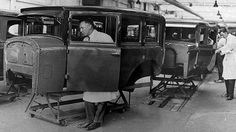 Assembly line production of the Holden Motor Body Builders at Woodville in 1924.