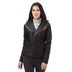 The Collection - Black faux fur trim leatherette jacket