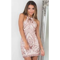 Rose Gold Open Back Racer Sequin Mini Dress ($57) ❤ liked on Polyvore featuring…