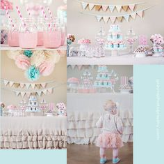 Lola's first birthday party!  girls birthday party ideas. vintage themed birthday.  turquoise and pink party.  mason jar party