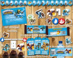 Skylanders Birthday Party Kit Download Banner Invite Cupcake Toppers Favor Tags Bottle labels Centerpiece Skylanders Birthday Party Pack by InstantBirthday on Etsy