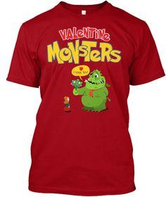 Valentine Monster! Top New T Shirt 2017! Deep Red T-Shirt Front