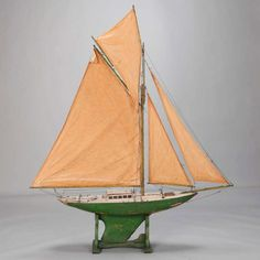 Monumental English Pond Boat with Four Sails For Sale at 1stdibs
