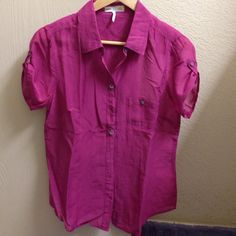 Cotton & Silk Shirt Very cute shirt, soft and comfortable. Worn once and dry cleaned after that. C&C California Tops