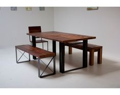 Bold Modern Reclaimed Iron & Wood 'Mt Whitney' Dining Table. $1,525.00, via Etsy.