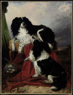 Richard Ansdell's Two King Charles Spaniels in a Landscape