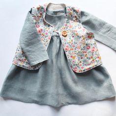 Handmade Linen Dress & Liberty Print Baby Toddler Vest | BloomingKiwi on Etsy
