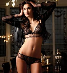So pretty!! #Sexy Black Sheer Lace #Lingerie Set