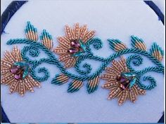 Hand embroidery ,hand embroidery design,border line embroidery with beads and stones chain Bead Embroidery Tutorial, Bead Embroidery Patterns, Flower Embroidery Designs, Bead Embroidery Jewelry, Beaded Embroidery, Indian Embroidery, Embroidery Dress, Zardozi Embroidery, Motifs Perler
