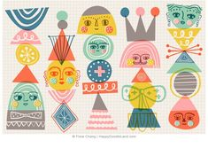 Geo Totems ©️️ Flora Chang | Happy Doodle Land