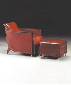 Ruhlmann Armchair & Ottoman. France, 1920s. Archives image. Born in Paris in 1879, Jacques-Émile Ruhlmann is a legendary French furniture designer and interior decorator of the Art Deco period. Aesthetic refinement, sumptuous materials, and impeccable construction techniques make  Jacques-Émile Ruhlmann 's furniture unique, timeless and extremely elegant. #RuhlmannArmchair #RuhlmannSeating #RuhlmannDesign #FrenchArtDecoArmchair #LuxuryFrenchChairMaker Art Deco Furniture, Furniture Design, French Furniture, Chair And Ottoman, Upholstered Chairs, Art Nouveau, Luxury Chairs, Art Deco Period, Luxury Decor