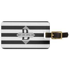 Black White Stripe Bridesmaid Gift Personalized Luggage Tag - monogram gifts unique custom diy personalize