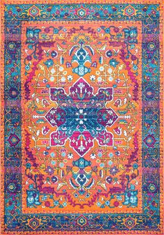 5x7 is only $105! Bosphorus BD57 Neon Snowflake Medallion Rug