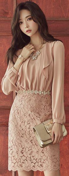StyleOnme_Ruffle Detail Floral Lace Dress #lace #feminine #falltrend #koreanfashion #kstyle #kfashion #elegant #seoul #dress