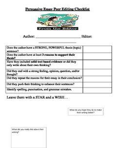 Persuasive Essay Peer Editing Checklist