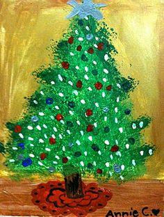 Painted Christmas Tree - Idea for teacher gift