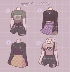 Teen Fashion Outfits, Edgy Outfits, Anime Outfits, Retro Outfits, Cute Casual Outfits, Fashion Design Drawings, Fashion Sketches, Portfolio Fashion, Kleidung Design