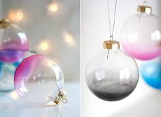 DIY Ombre Glass Ornaments - Simple Christmas ornament craft that adds a dash of color to your tree. From Ambrosia Creative.