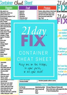 21 Day Fix Container Cheat Sheet #21DayFix