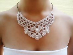 Wedding necklace crochet necklace bridal necklace by DIDIcrochet