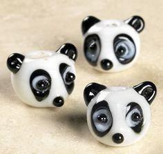 2 - Panda Bear Lampwork Glass Beads