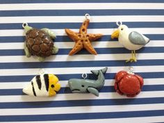Polymer Clay Sea Creature Pendants 1 Turtle by noelletournesol, $16.00