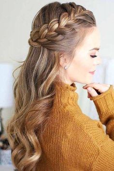 38 Sweetest Half Up Half Down Hairstyle For Special Occassion : Page 31 of 38 : Creative Vision Design Easy Formal Hairstyles, French Braid Hairstyles, Try On Hairstyles, Box Braids Hairstyles, Trending Hairstyles, Pretty Hairstyles, Hairstyle Ideas, French Braid Ponytail, Teenage Hairstyles