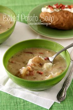 Soul-warming baked potato soup with crispy bacon that is easy to prepare when you don't have the time (or energy) to cook | www.chocolatemoosey.com