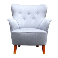 Beautiful Grey Small Scale Wingback Armchair
