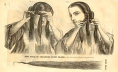 Victorian ~ You can add hairpieces to the sides of your hair.  If you use hair that closely matches your own and with some practice or help from a friend, you'll be able to incorporate them to lengthen your own hair for period styles.  The easiest way to attach false hair to the sides is to braid them in as in the Godey's print seen below.  [Forgot to mention the print is from Godey's Lady's Book, September 1862]