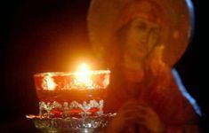 When the Orthodox Christian prays Orthodox Prayers, Orthodox Christianity, Prayer For Family, My Prayer, Candle Jars, Candle Holders, Orthodox Icons, Lent, Birthday Candles