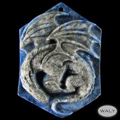 Carved Dragon Lapis Lazuli Bead