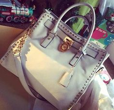 #Find #Michaelkors Get The Best Michael Kors Smooth Outlook Large White Totes Online And You Will Never Regret.